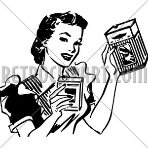 Housewife With Products, RetroClipArt.com.