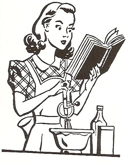 50s housewife reading.