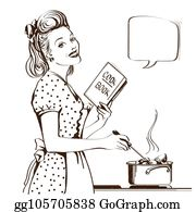 50S Housewife Clip Art.