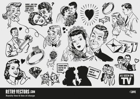 Free '50s Love themed clip art.
