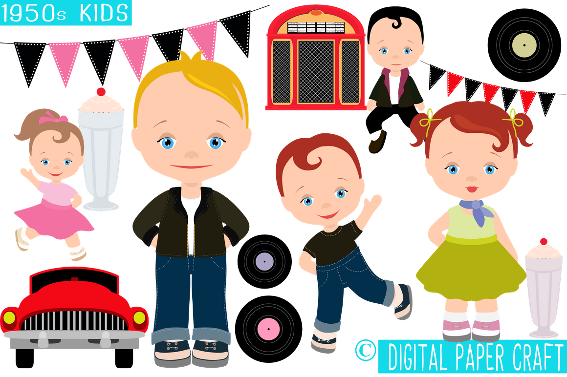 1950s Kids, Retro Clipart, 50s clipart, Rock n Roll Clipart.
