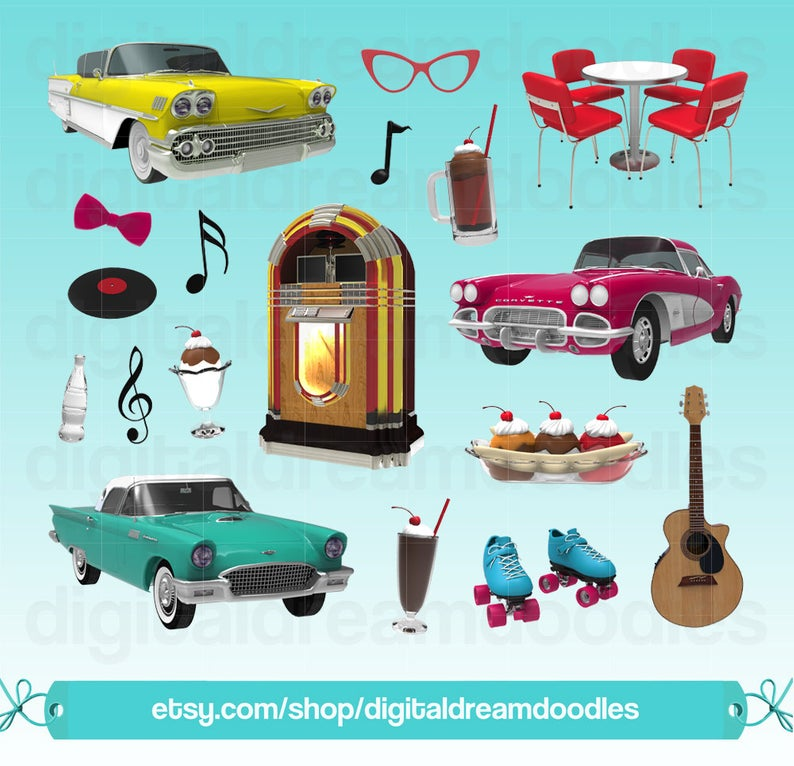 Diner Clipart, 50s Diner Clip Art, Retro Clipart, Jukebox Clipart, Sundae  Graphic, Classic Car Images, Root Beer Float Art, Digital Download.