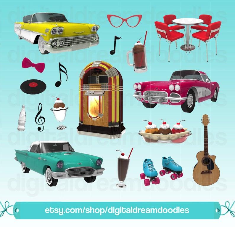 Diner Clipart, 50s Diner Clip Art, Retro Clipart, Jukebox Clipart, Sundae  Graphic, Classic Car Images, Root Beer Float Art, Digital Download.