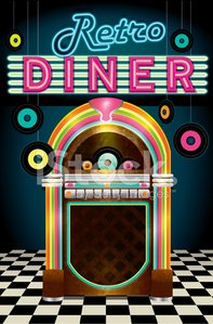 Late night retro 50s Diner menu layout with jukebox Clipart.