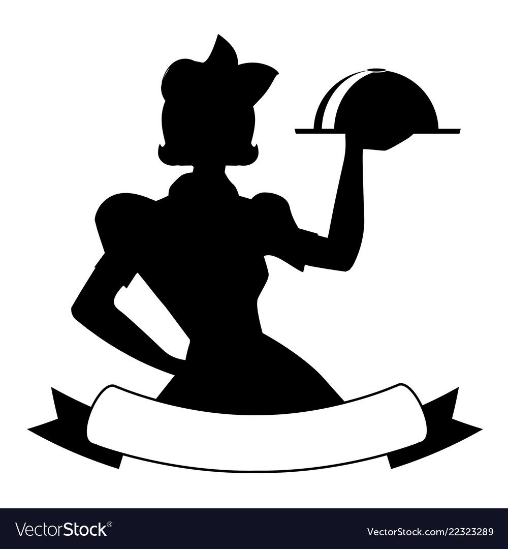 Silhouette of waitress style 50s carrying a tray.