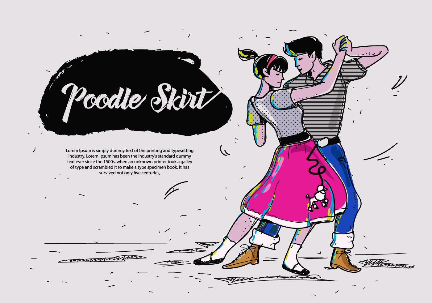 Poodle Skirt Dance Hand Drawn Vector Illustration.