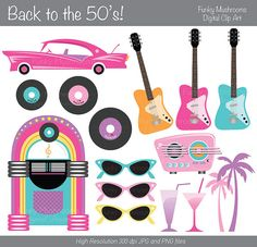 50s Sock Hop Cute Digital Clipart for Commercial or Personal Use.