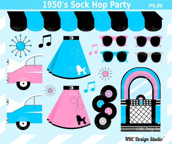 1950's Sock Hop Clip Art Cute Retro Poodle by NRCDesignStudio.