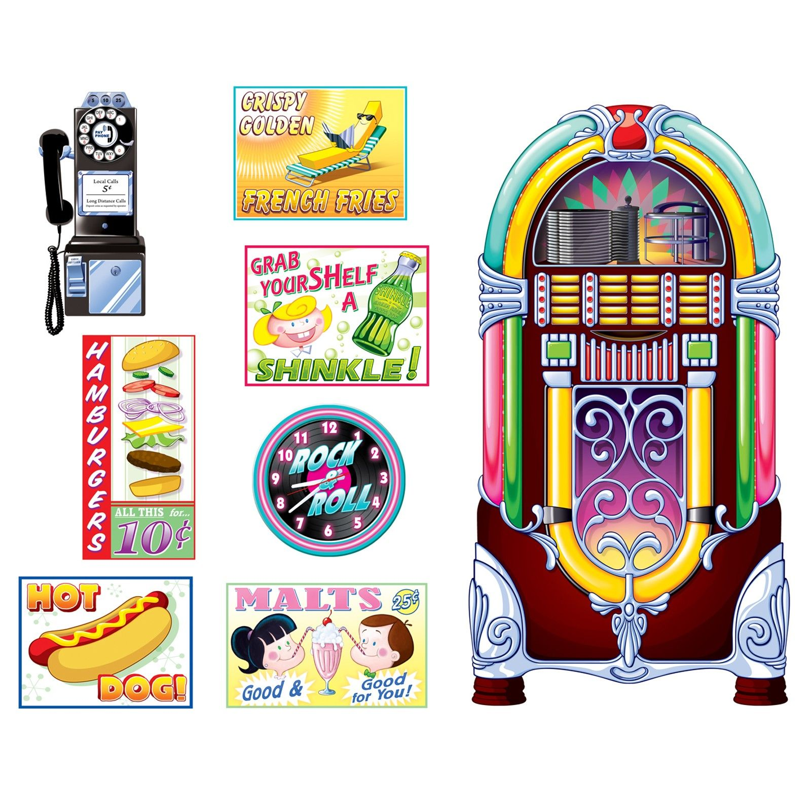 1950\'s Soda Shop Signs and Jukebox Props.