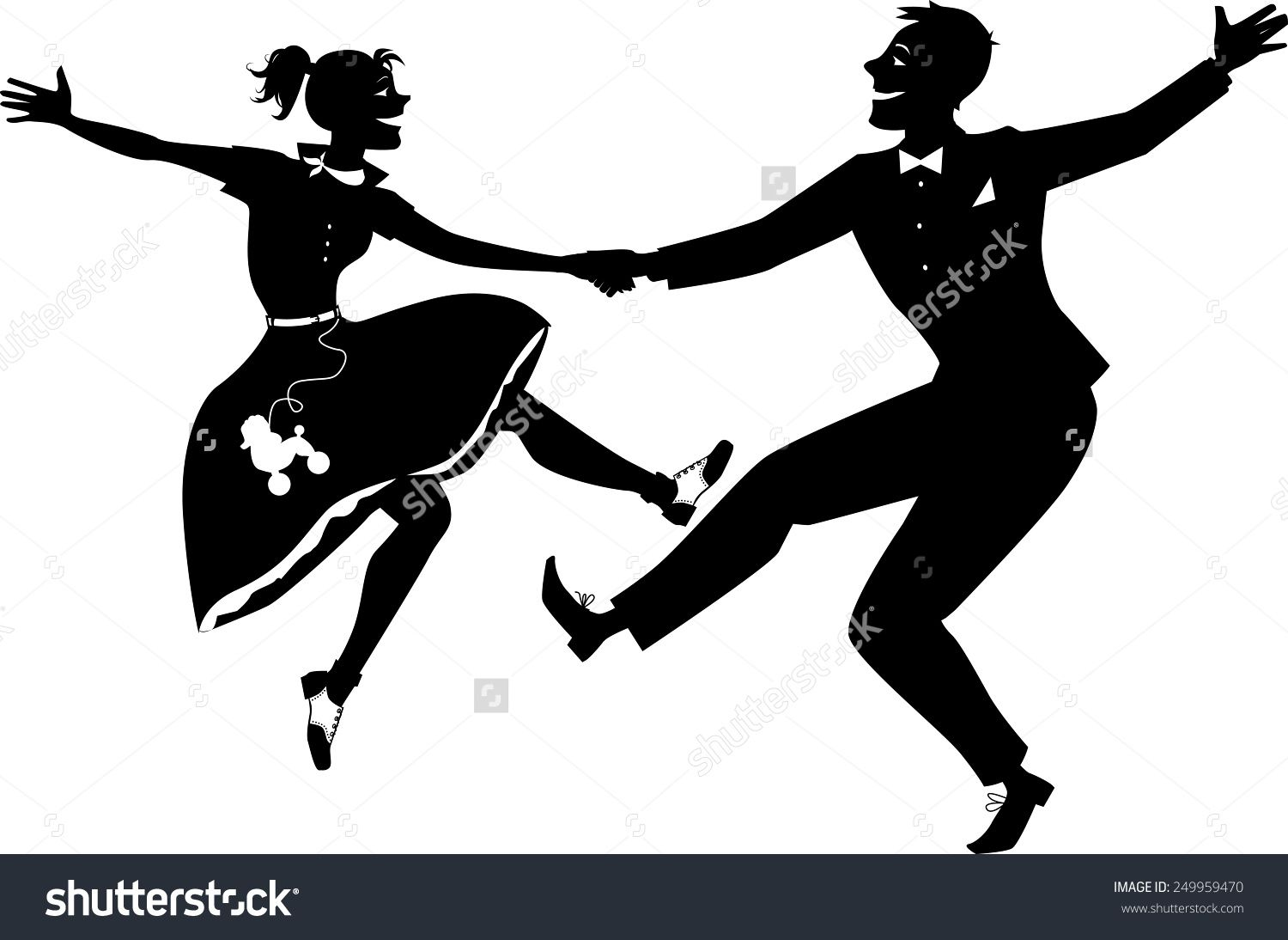 Black vector silhouette of a couple dressed in 1950s fashion.