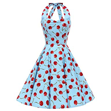 JLI MAY Women\'s Floral Strawberry Printed Swing Halter Neck.
