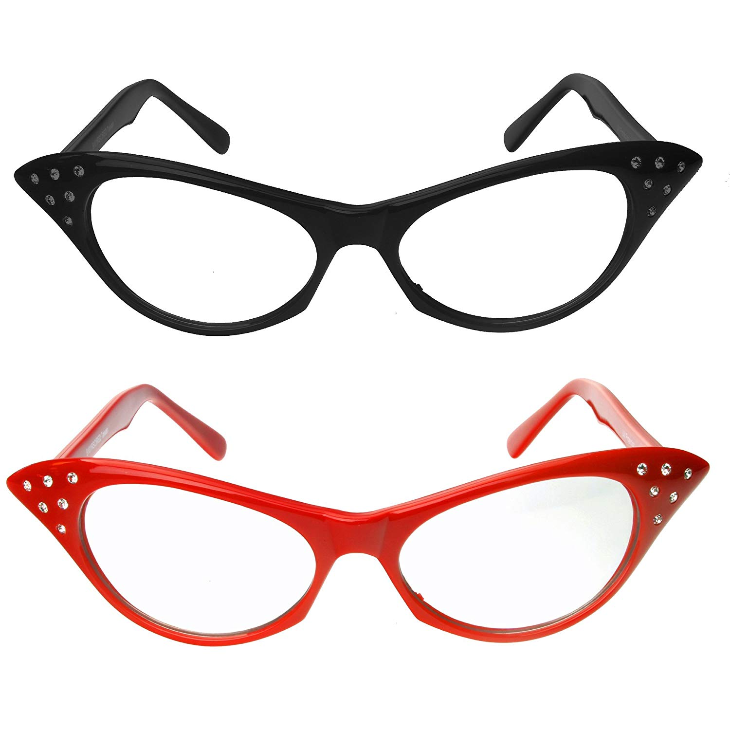 Red & Black Cat Eye Glasses with Rhinestones.