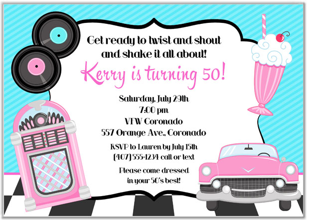 50s Theme Birthday Party Invitations.