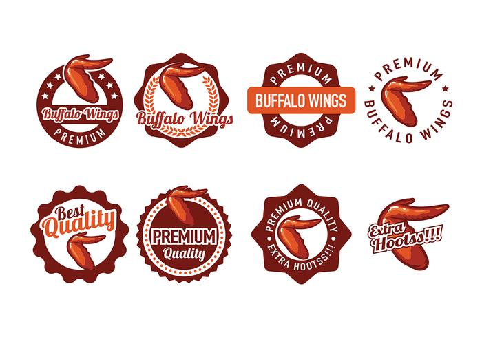 Buffalo Wings Badge Vectors.