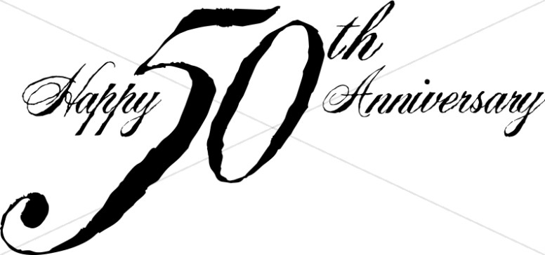 Black 50th Anniversary Wordart.