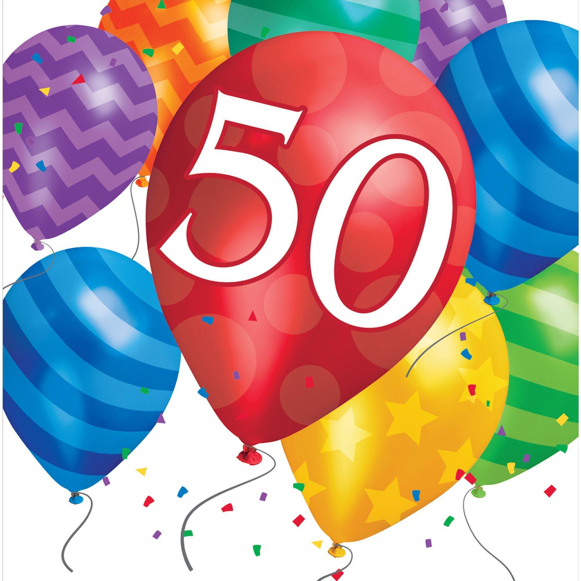 Balloon Blast 50th Birthday Lunch Napkins/Case of 192.