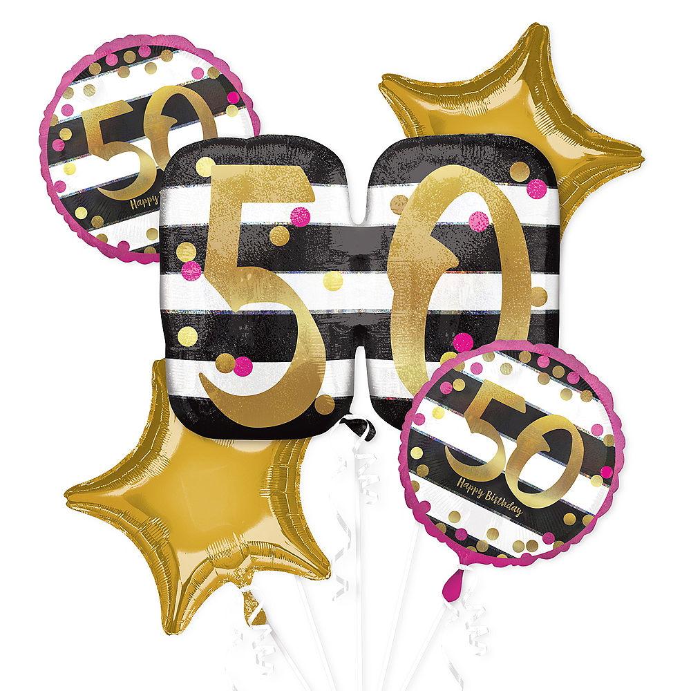 Pink & Gold 50th Birthday Balloon Bouquet 5pc.