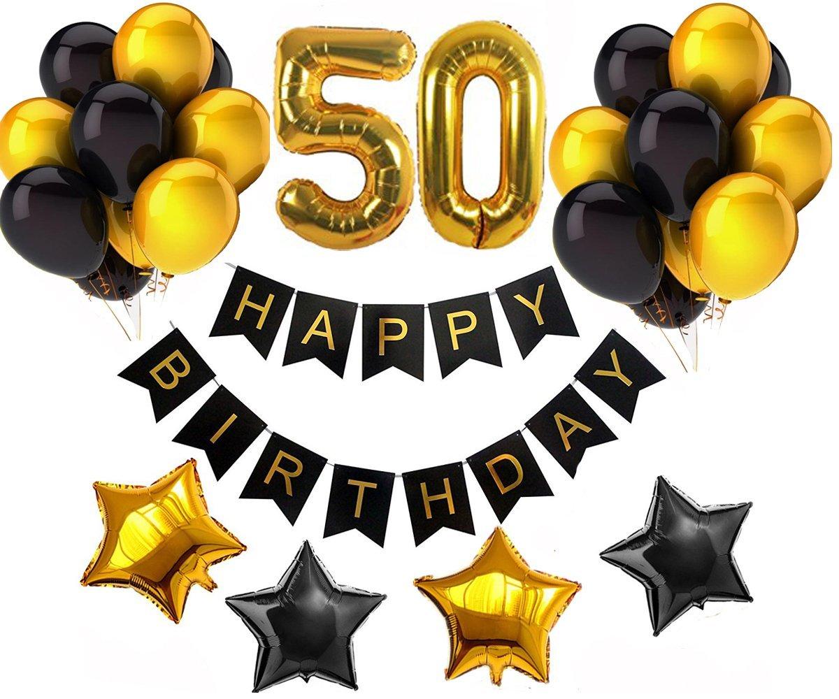 Buy 50th Happy Birthday Banner Decorations Kit.