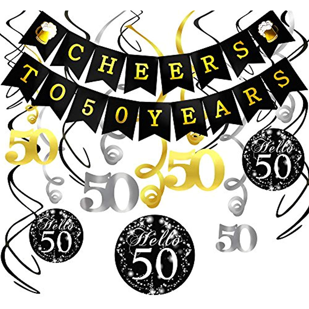 Details about 50th Birthday Decorations Kit Cheers Years Banner Swallowtail  Bunting Garland.