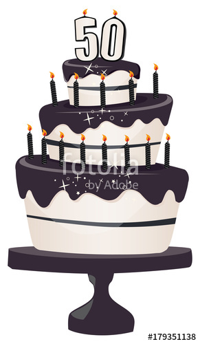 50th Birthday Clip art Cake with sparkly black Icing and Candles.