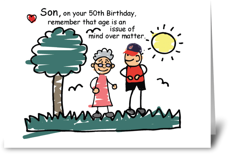 Son 50th Birthday Humorous Stick Figures Greeting Card.