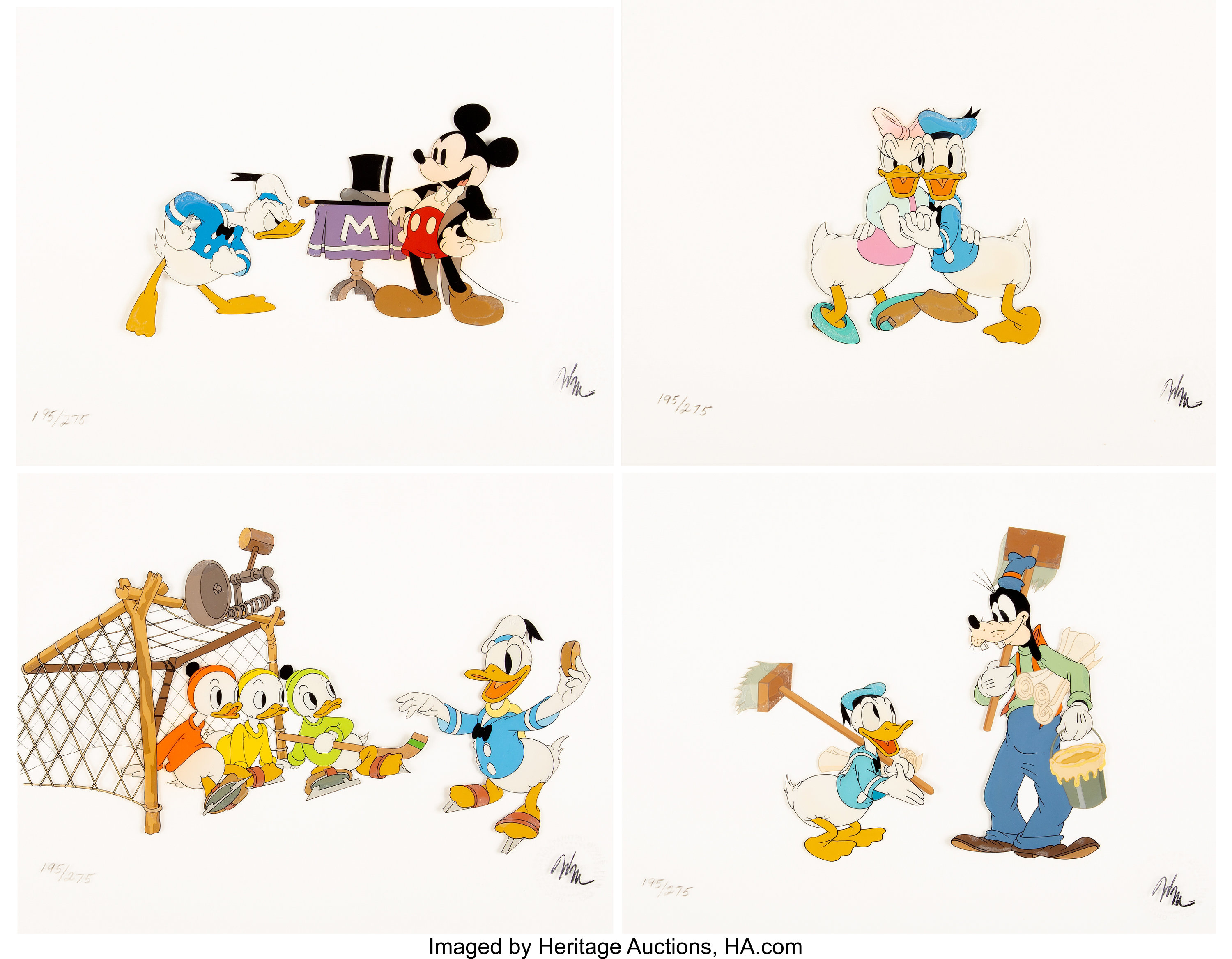Donald Duck\'s 50th Birthday Limited Edition Suite of 4 Cels.