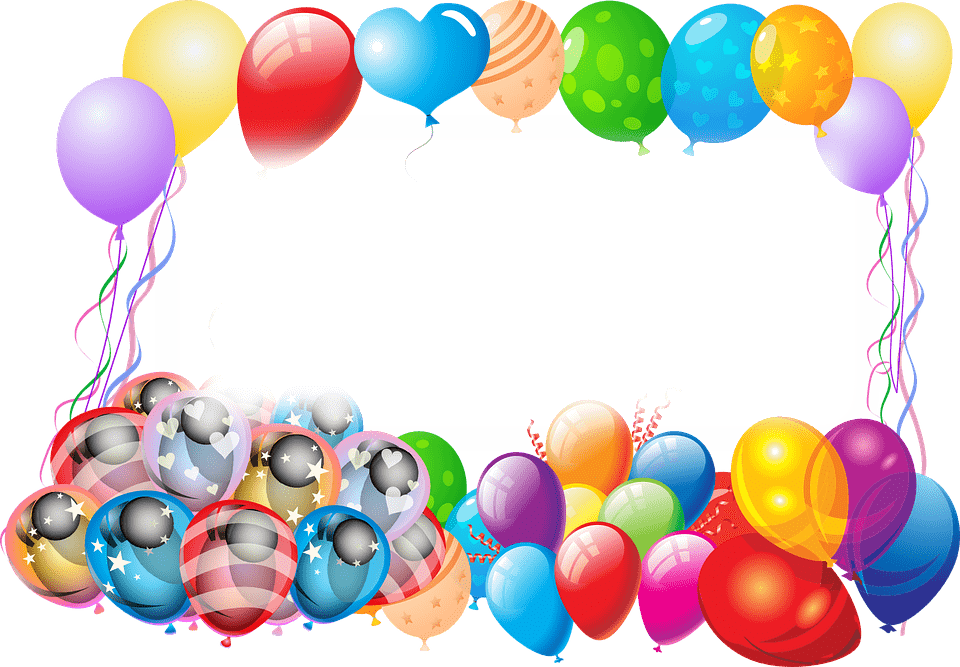 Happy Birthday Frame With Balloons transparent PNG.