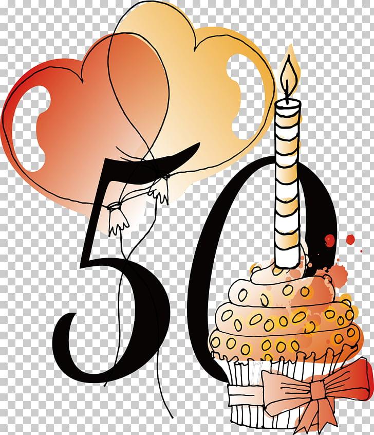 Birthday Vecteur , 50th anniversary birthday , cupcake and.