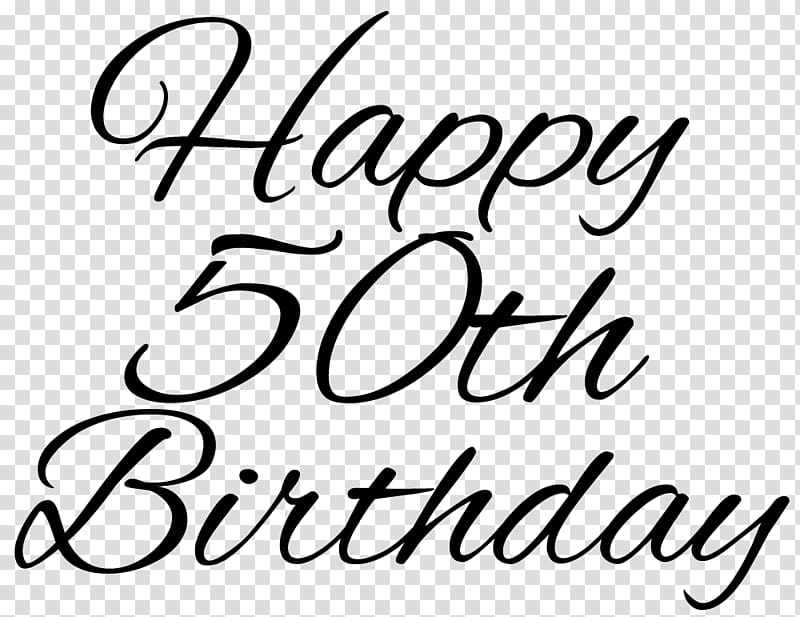 Happy 50th Birthday transparent background PNG clipart.