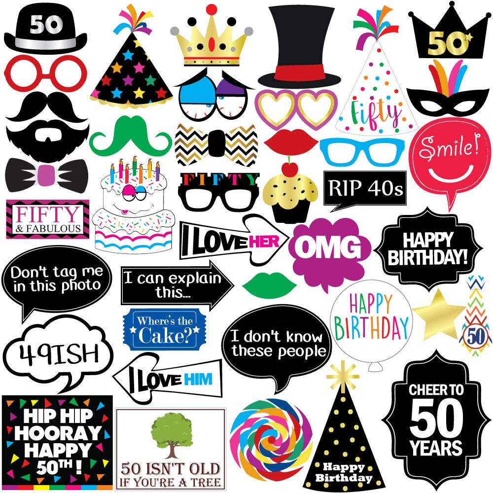 50th Birthday Photo Booth Party Props.