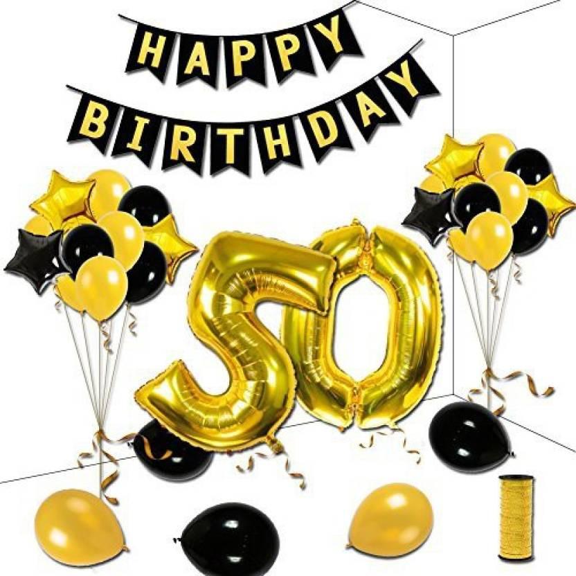KUMEED 50Th Birthday Party Decorations Kit, Gold Black Star.