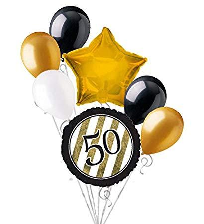Amazon.com: 7 pc 50th Black & Gold Elegant Stripes Balloon.