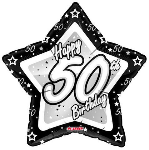 Elegant Star Happy 50th Birthday Balloon Bouquet.
