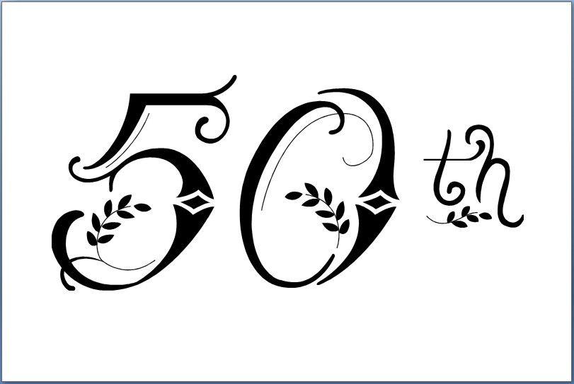 Elegant 50th Birthday Clipart.