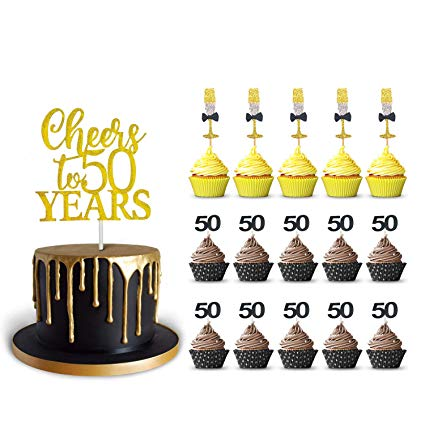 50th Birthday Cake Topper and 50 Cupcake Wine Glass Toppers Glitter  Cardstock Set, Cheers to 50.