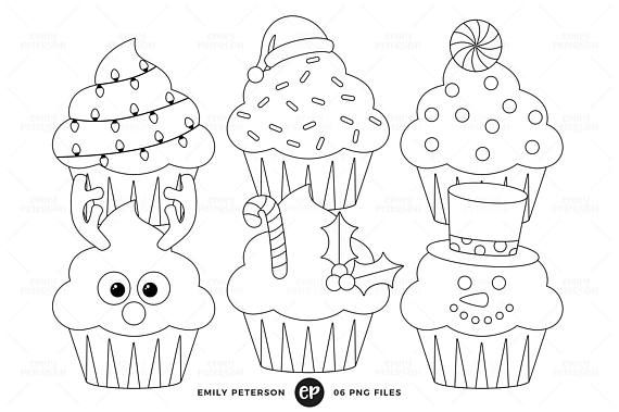 Christmas Digital Stamps, Cupcakes Line Art, Holiday.