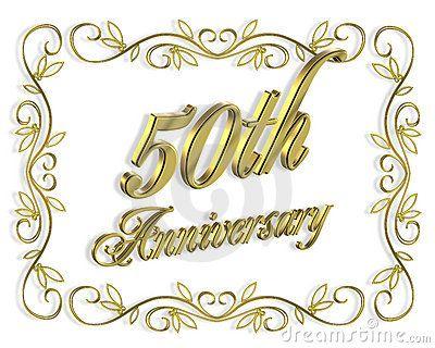 50th Anniversary Invitation 3D Illustration Royalty Free Stock.