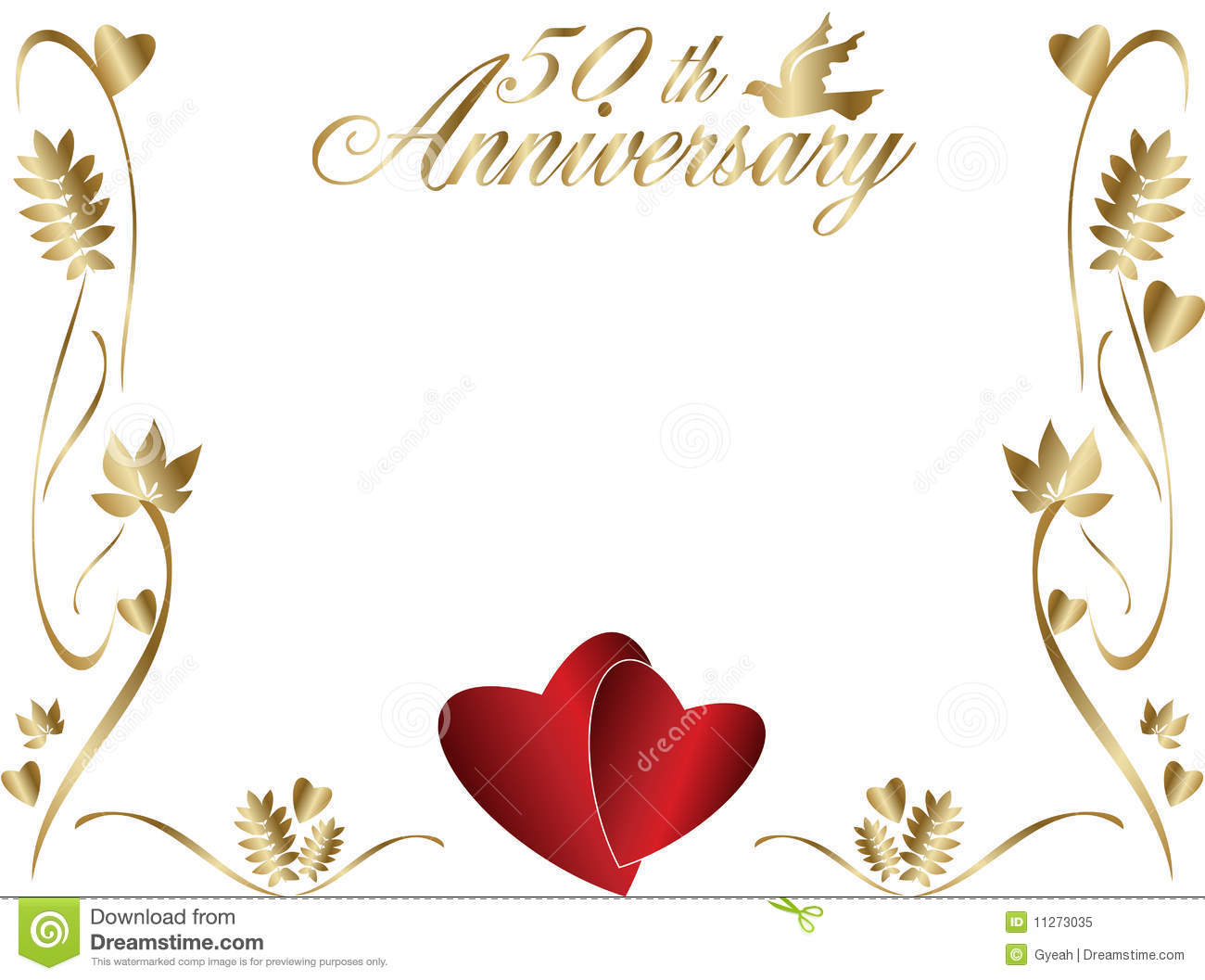 50th Wedding Anniversary Border Stock Vector.