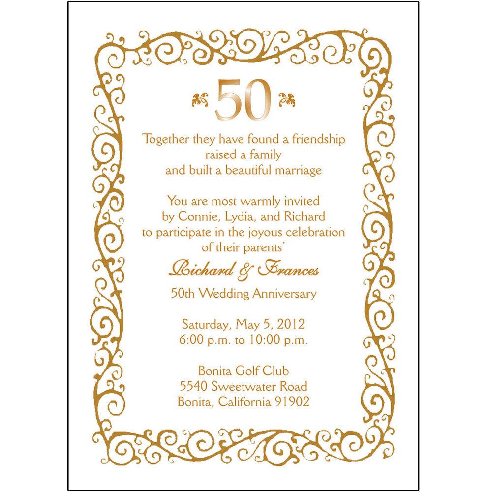 Free 50th Wedding Anniversary Invitation Borders   Wedding.
