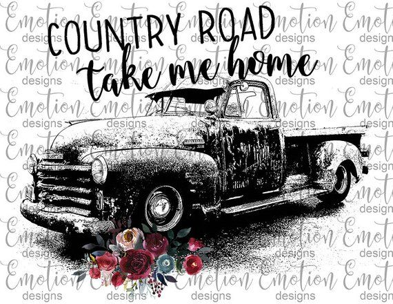 country road 51 chevy truck, instant download, Sublimation.