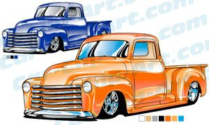Custom 1953 Chevy Truck Clip Art.