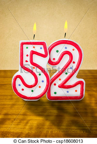 Clipart of Burning birthday candles number 52 csp18608013.