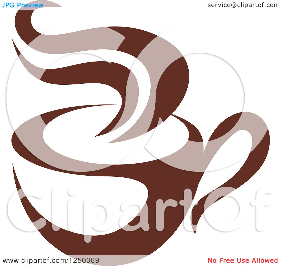 Clipart of a Brown Cafe Coffee Cup with Steam 52.