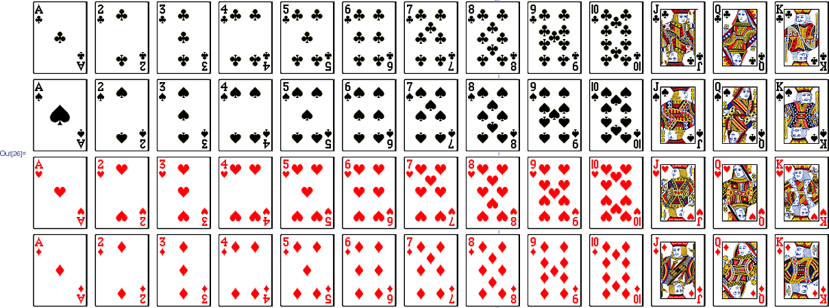 Standard deck of 52 playing cards in curated data?.