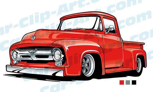 53 Ford Truck Vector Clip Art.