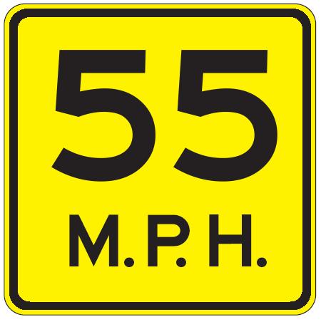55 Mph Sign.