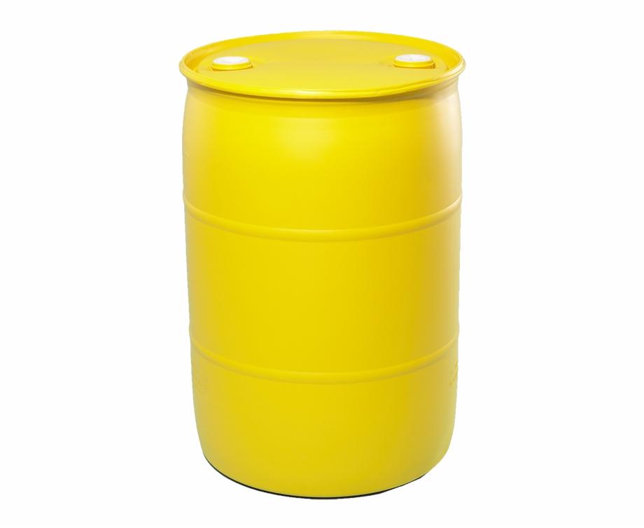 55 Gallon Yellow Tight Head Plastic Drum.