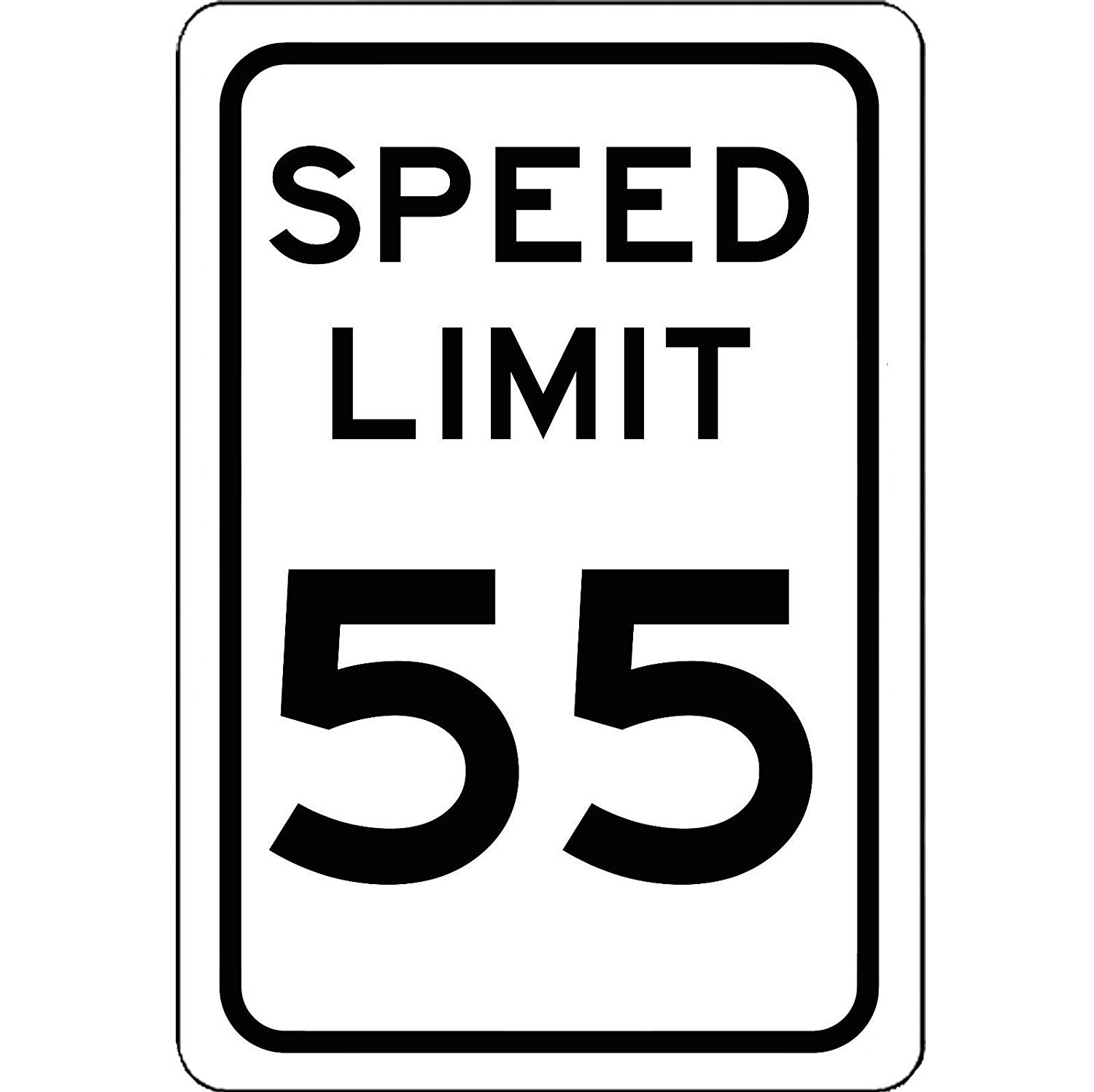 Speed Limit 55 MPH Sign.