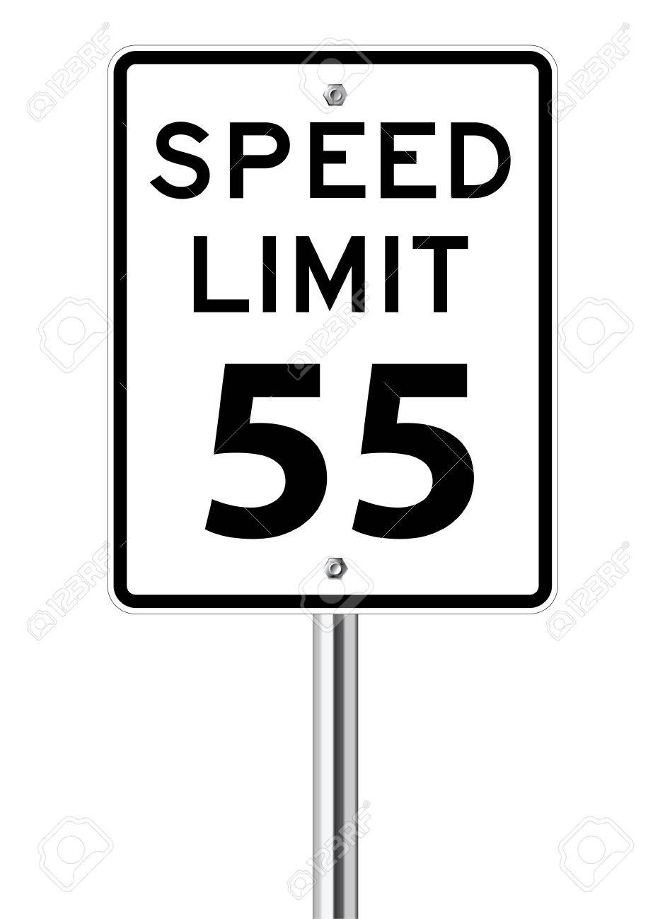 Speed limit 55 traffic sign on white.
