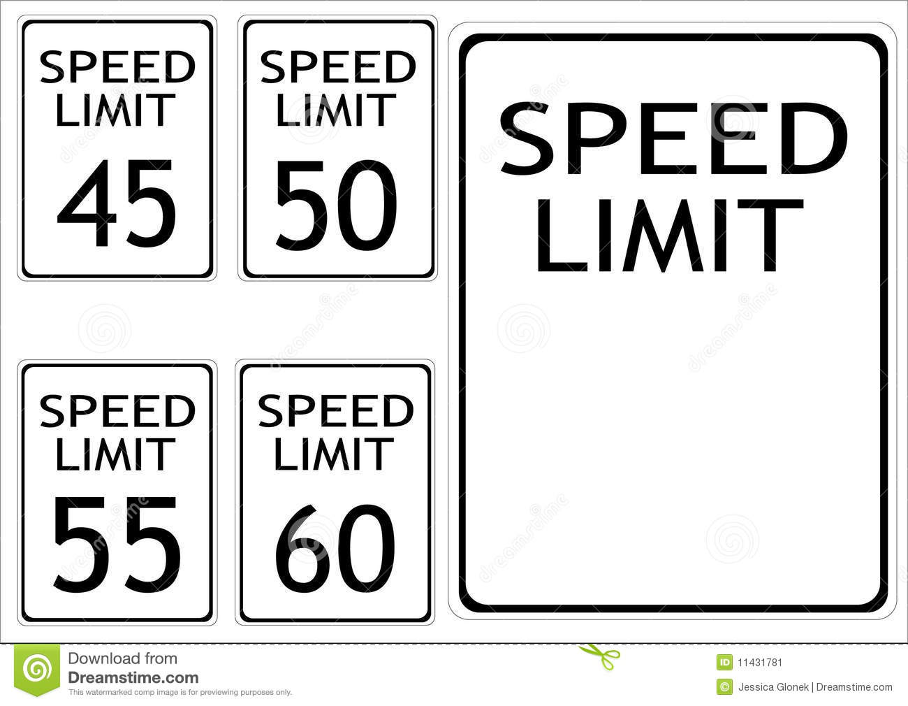Speed limit road signs stock vector. Illustration of safe.